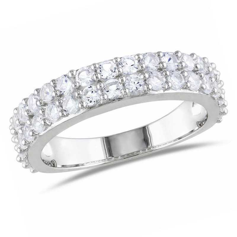 Created White Sapphire Double Row Ring in Sterling Silver