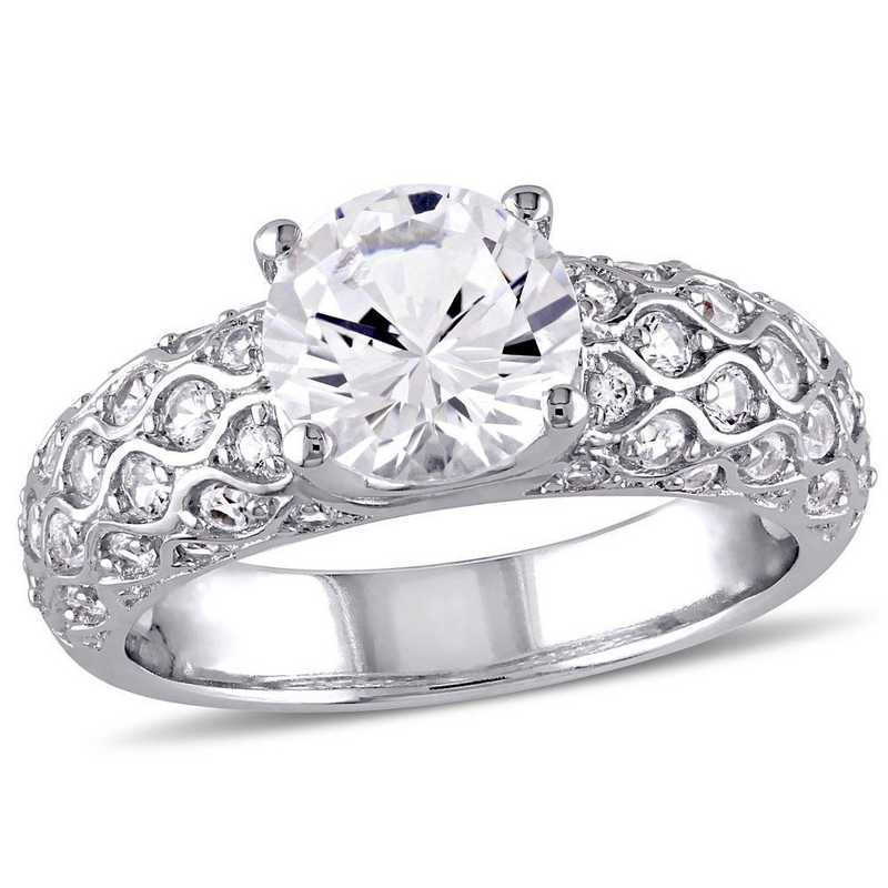 Created White Sapphire Vintage Ring in 10k White Gold