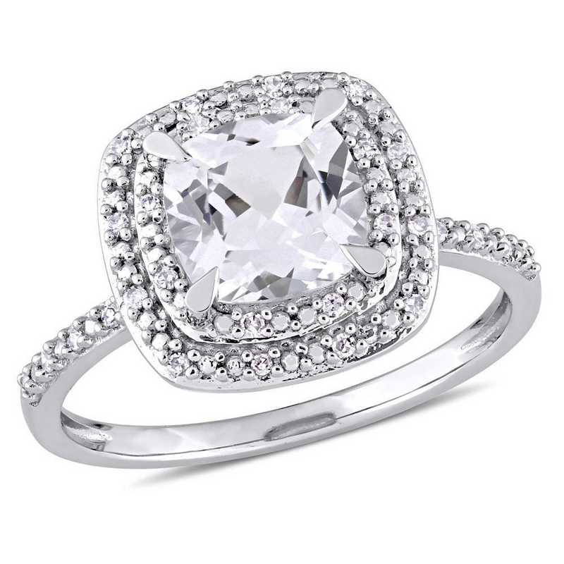 Created White Sapphire and 1/10 CT TW Diamond Halo Ring in 10k White Gold