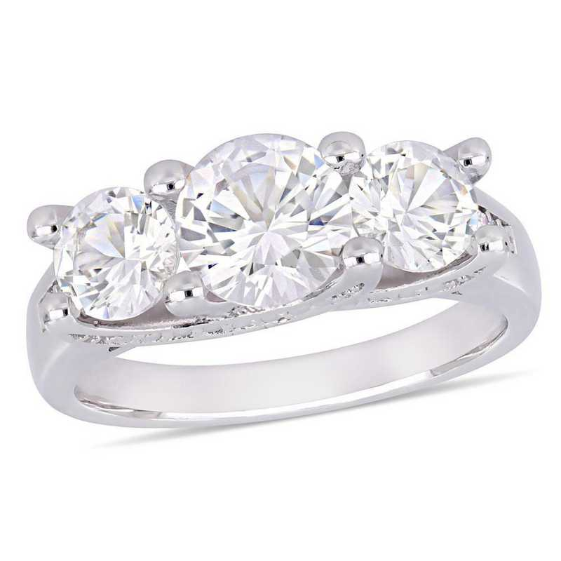 Created White Sapphire and Diamond Accent 3-Stone Ring in 10k White Gold
