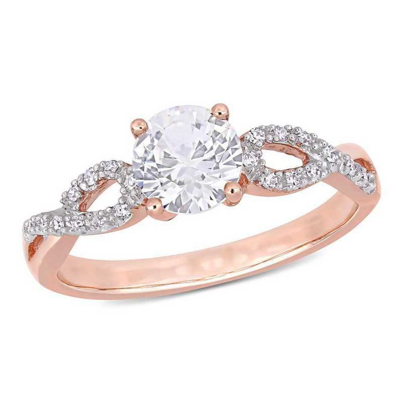 Created White Sapphire and 1/10 CT TW Diamond Infinity Ring in 10k Rose gold