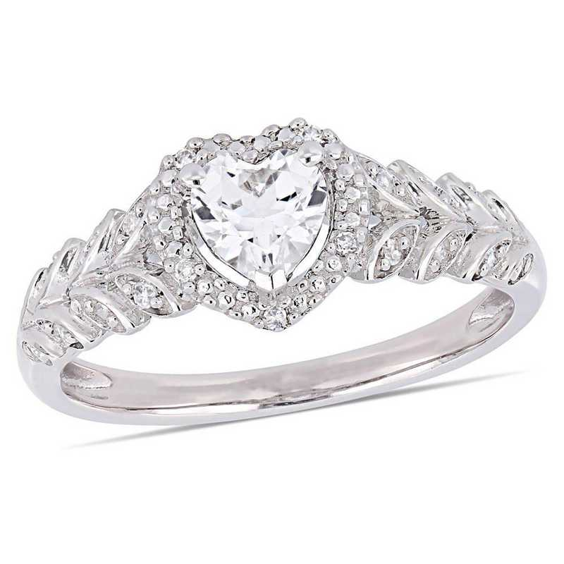 Created White Sapphire and Diamond Accent Halo Heart Ring in 10k White Gold