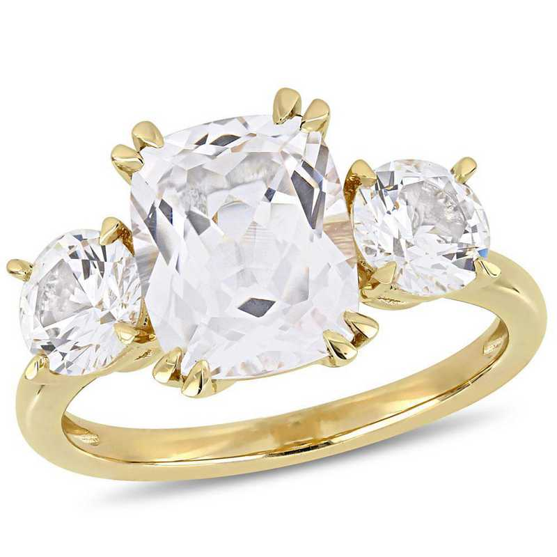 Created White Sapphire Three-Stone Ring in 10k Yellow Gold