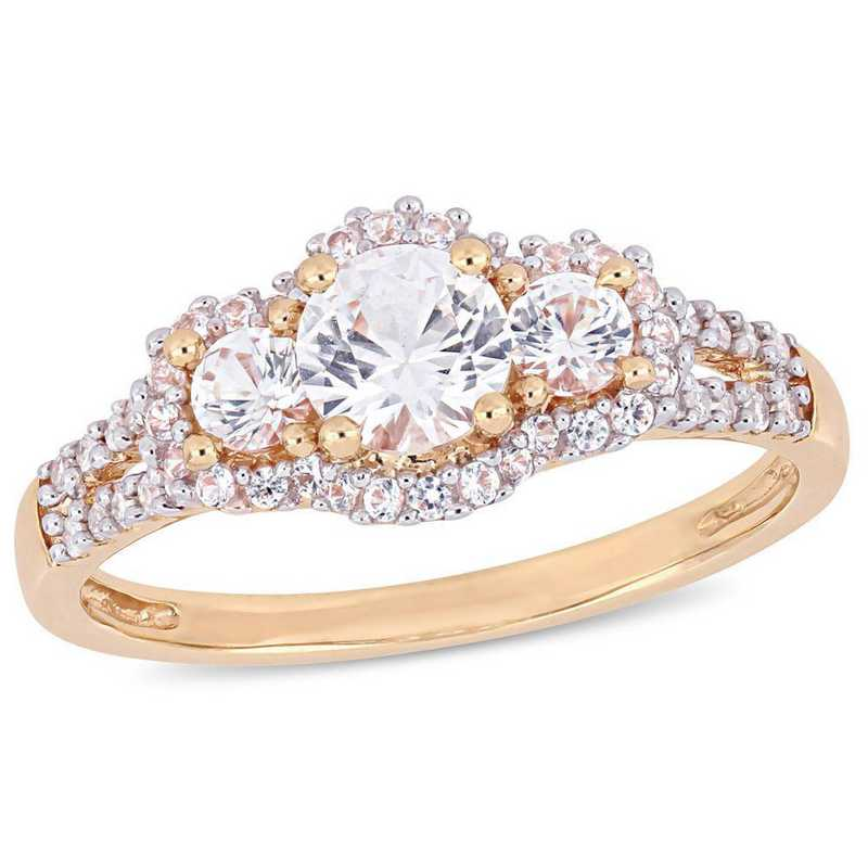 Created White Sapphire and Diamond Accent 3-stone Halo Ring in 10k Rose Gold