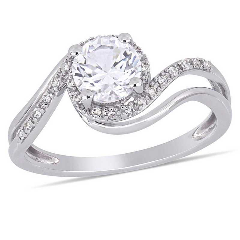 Created White Sapphire and Diamond Accent Bypass Halo Ring in 10k White Gold