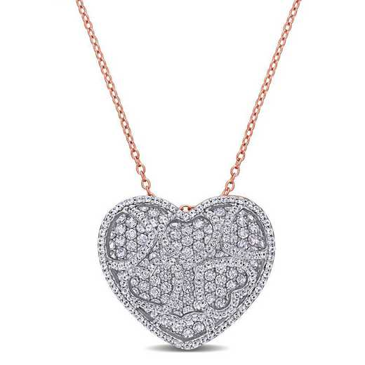 BAL001054: Create Wht/Sapphire/Heart/Cluster Necklce in Rose Plated SS