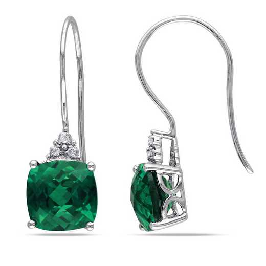 BAL001055: Created Emerald/Diamond Accent Drop Earrings in 10k Wht Gold
