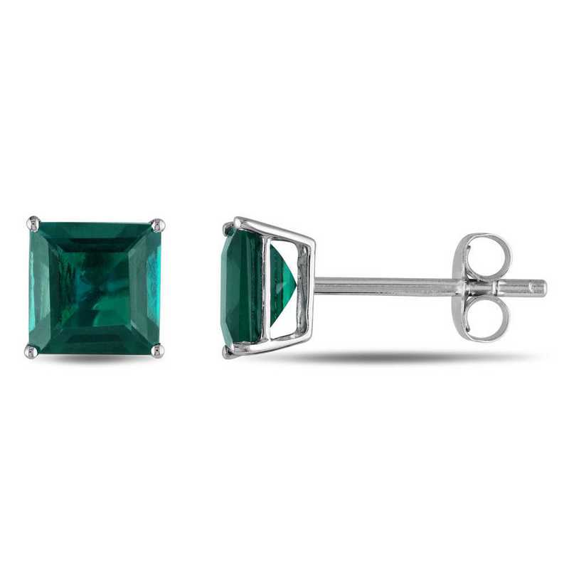 BAL001056: Square Cut Created Emerald Stud Earrings in 10k Wht Gold