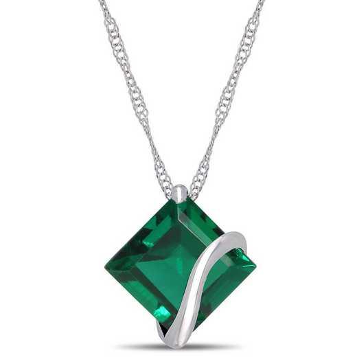 BAL001057: Created Emerald Square Swirl Pendant/Chain/10k Wht Gld