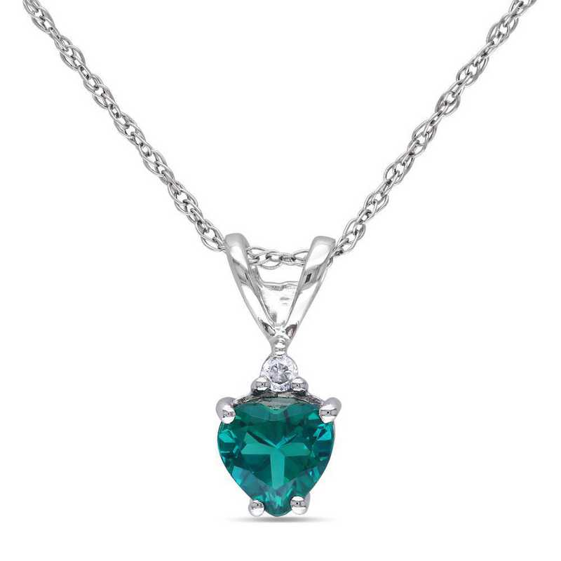 BAL001058: Created Emerald/Diamond Accent Pendant/Chain/10k Wht Gld