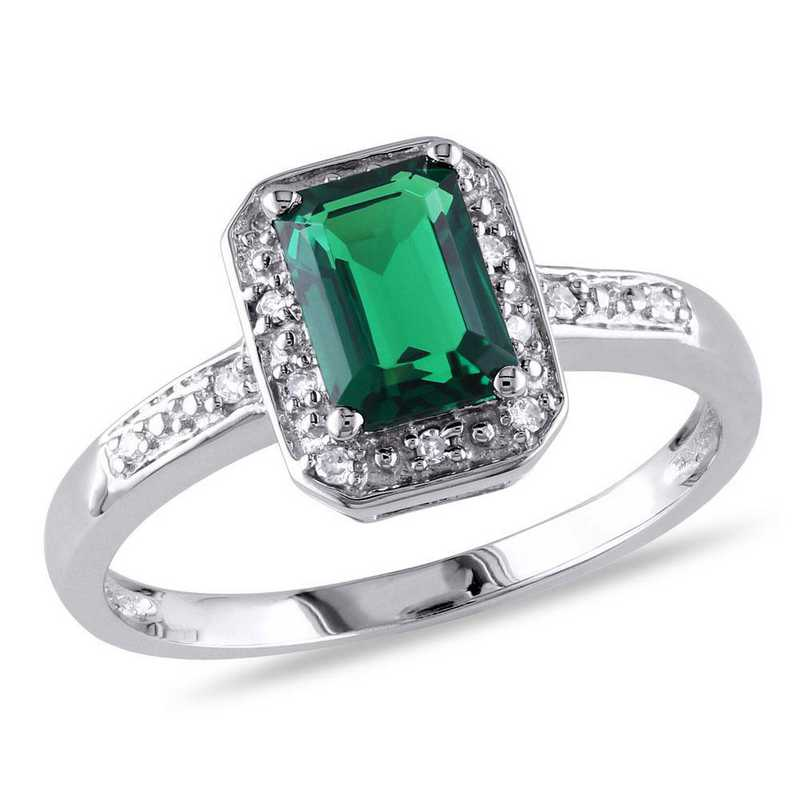 Created Emerald and Diamond Accent Halo Ring in 10k White Gold