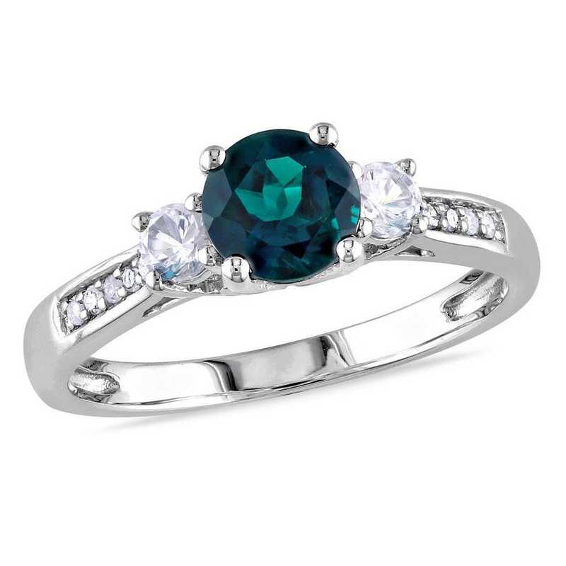 Created Emerald and White Sapphire 3-Stone Ring with Diamond Accents in 10k White Gold