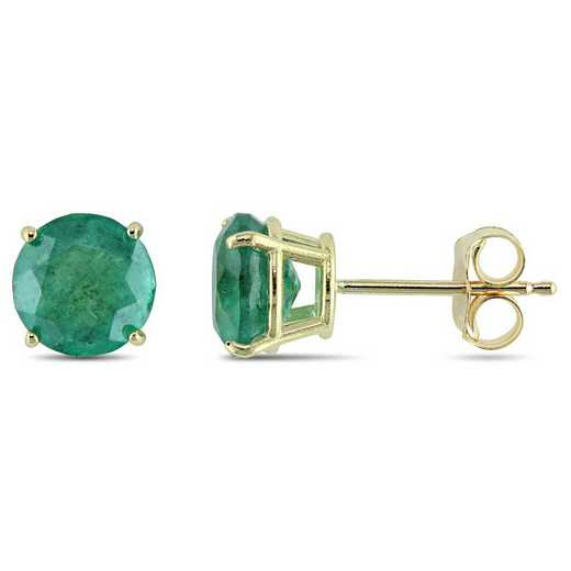 BAL001061: Emerald Solitaire Stud Earrings in 10k Yelow Gold