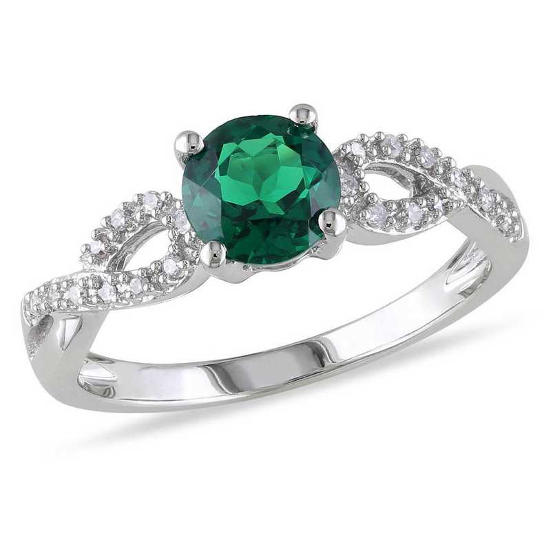 Created Emerald and 1/10 CT TW Diamond Infinity Ring in 10k White Gold