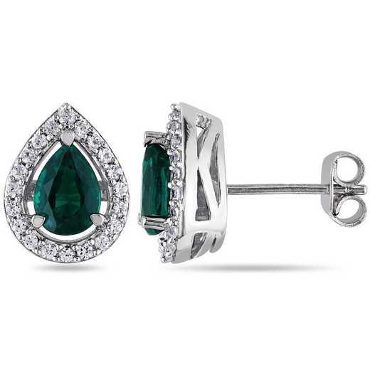 BAL001063: Created Emerald/Wht Sapphire Teardrop Stud Earrings in SS