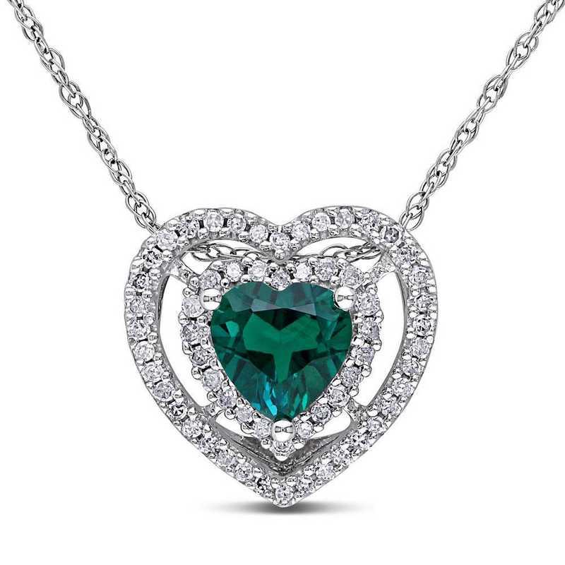 BAL001064: Created Emerald/1/5CT TW Diamond Heart Necklace/10k Wht Gold