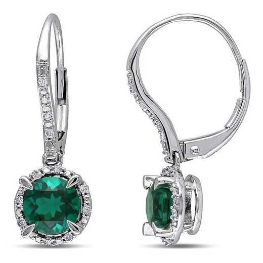 BAL001065: Create Emerald/1/10 CT TW Diamnd Halo Earring in 10k Wht Gld