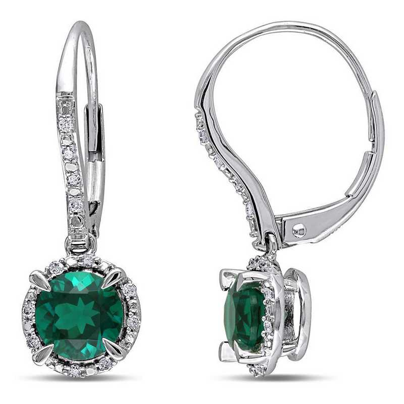 BAL001065: Create Emerald/1/10 CT TW Diamnd Halo Earring in 10k Wht Gld