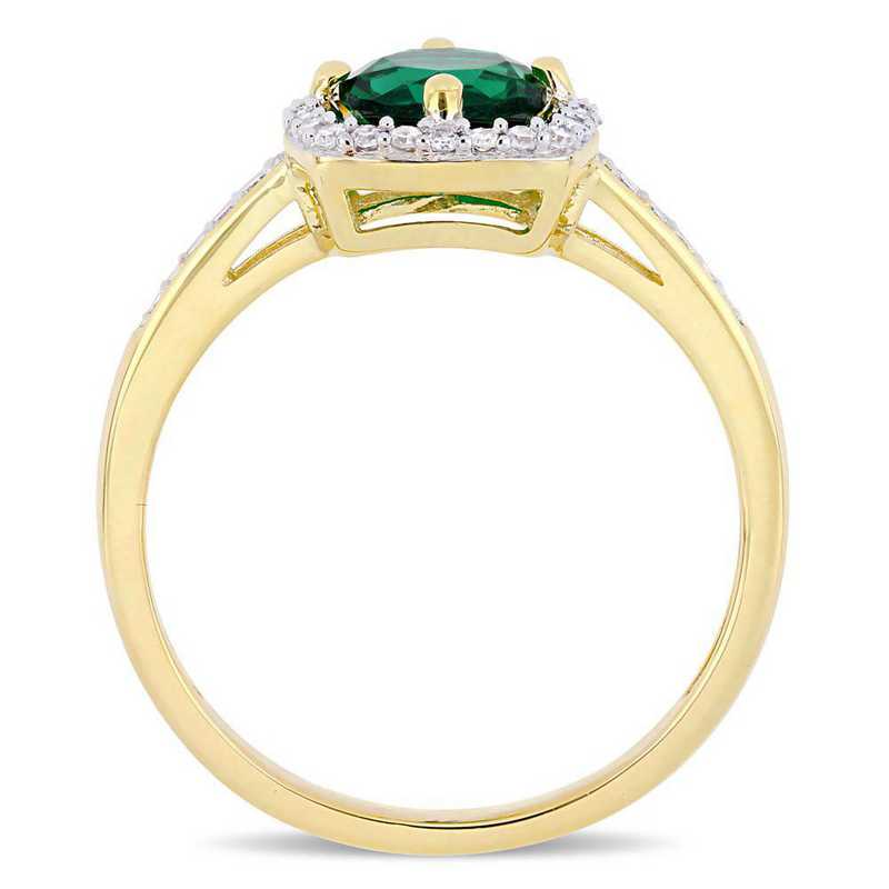Created Emerald and 1/7 CT TW Diamond Square Halo Ring in 10k Yellow Gold