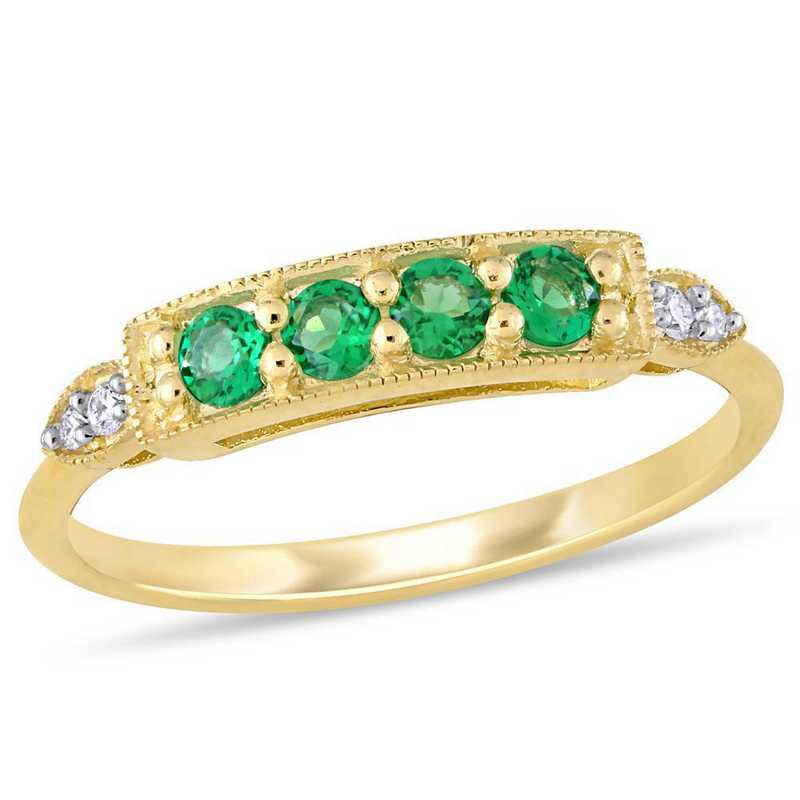 Created Emerald and Diamond Accent Bar Ring in 10k Yellow Gold