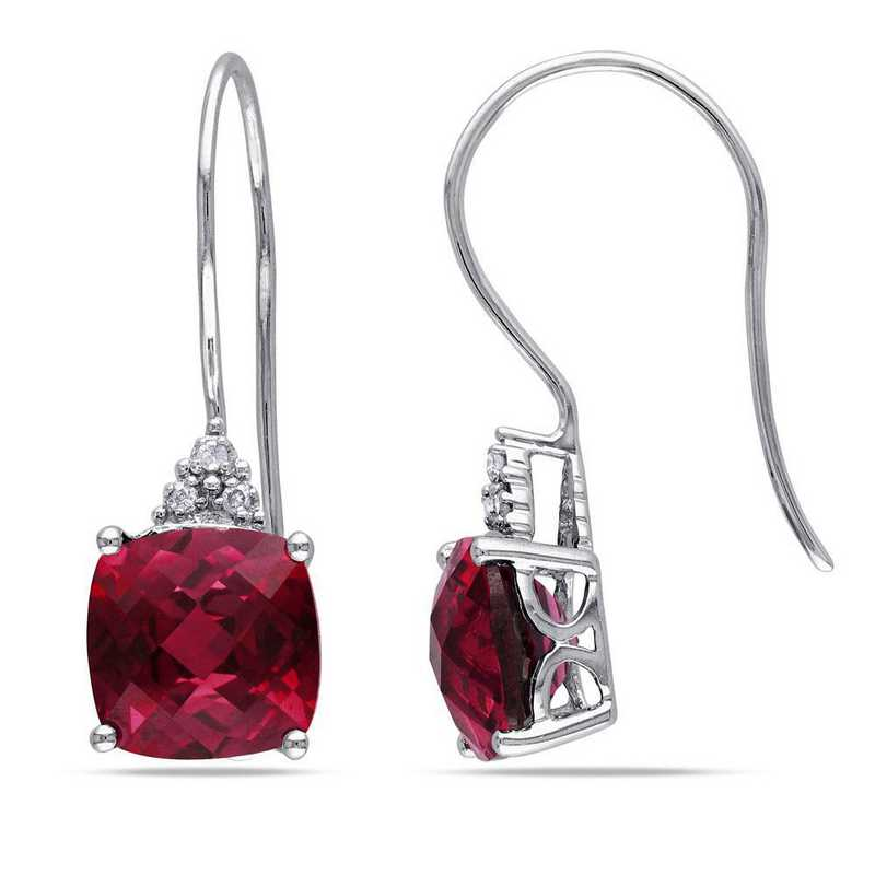 BAL001074: Created Ruby/Diamond Accent Drop Earrings in 10k Wht Gold