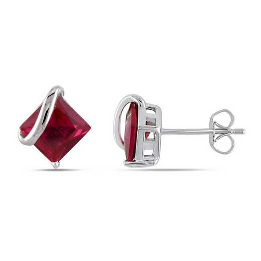 BAL001075: Square Created Ruby Swirl Stud Earrings in 10k Wht Gold