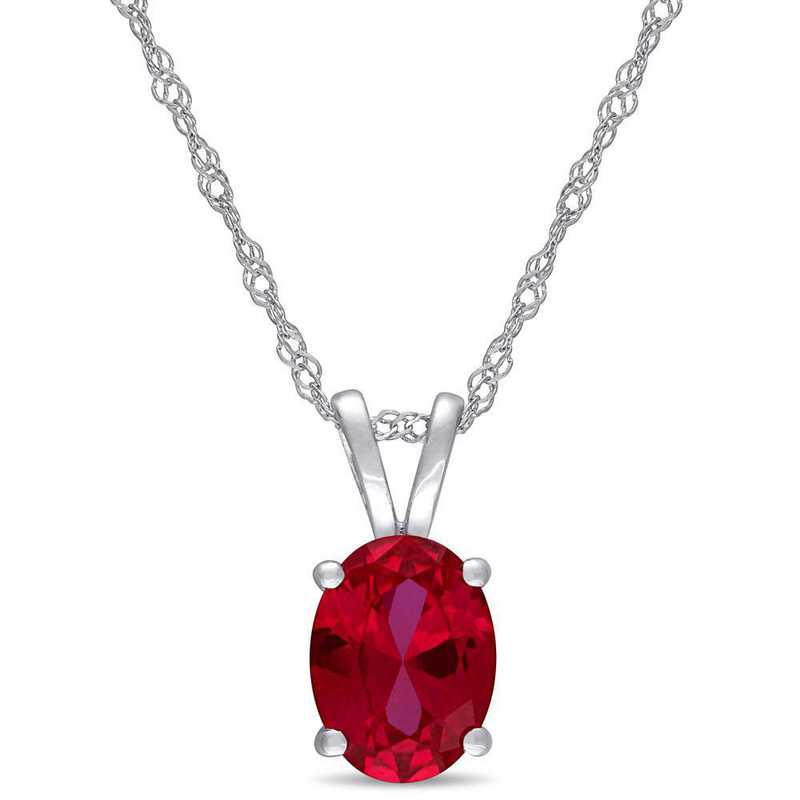 BAL001076: Created Ruby Oval Solitaire Pendant/Chain/10k Whte Gld