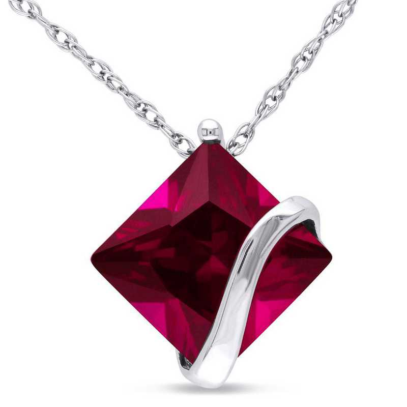 BAL001077: Created Ruby Square Swirl Pendant/Chain/10k Wht Gld