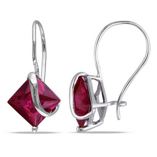 BAL001078: Square Cut Created Ruby Earrings in 10k Wht Gold