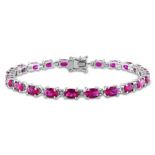 BAL001079: Oval-cut Created Ruby Bracelet in SS