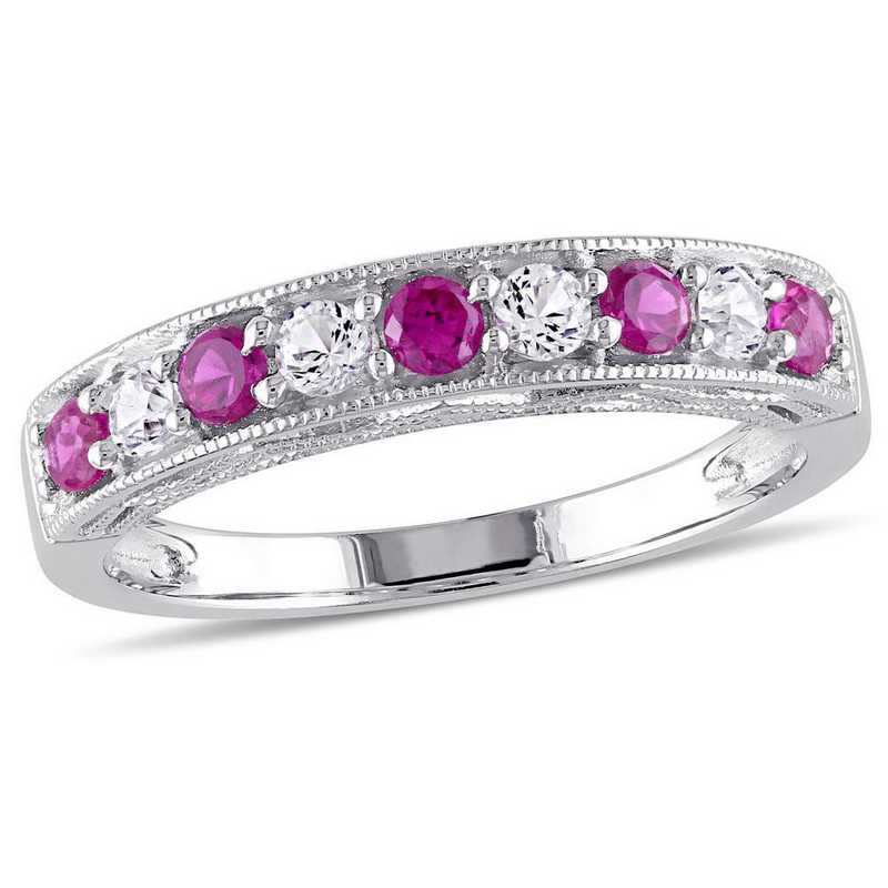 Created Ruby and Created White Sapphire Band Ring in Sterling Silver