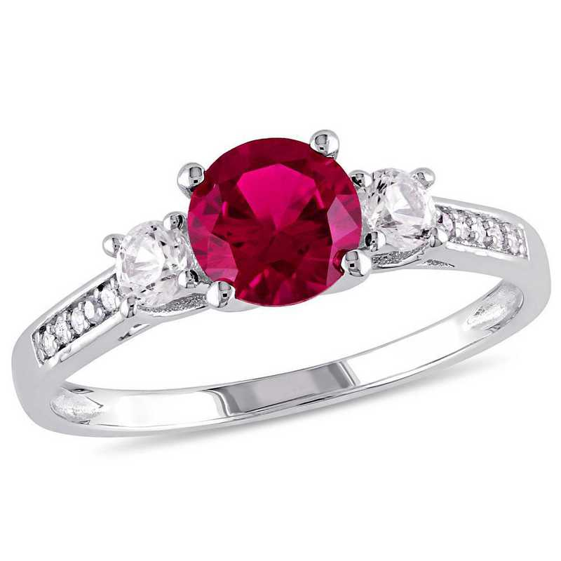 Created Ruby and White Sapphire 3-Stone Ring with Diamonds in 10k White Gold