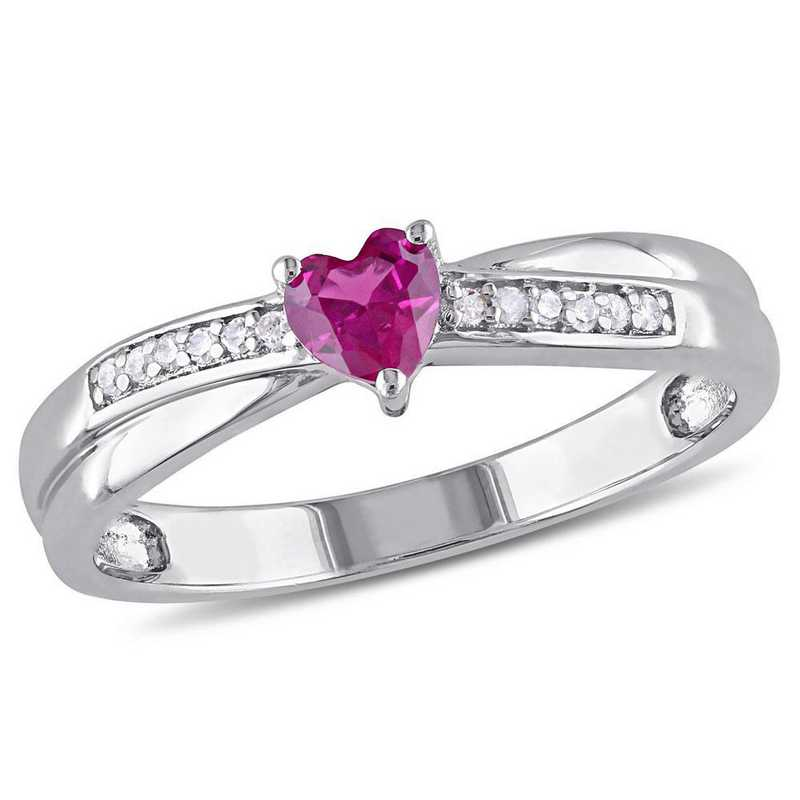 Created Ruby and Diamond Accent Heart Ring in Sterling Silver