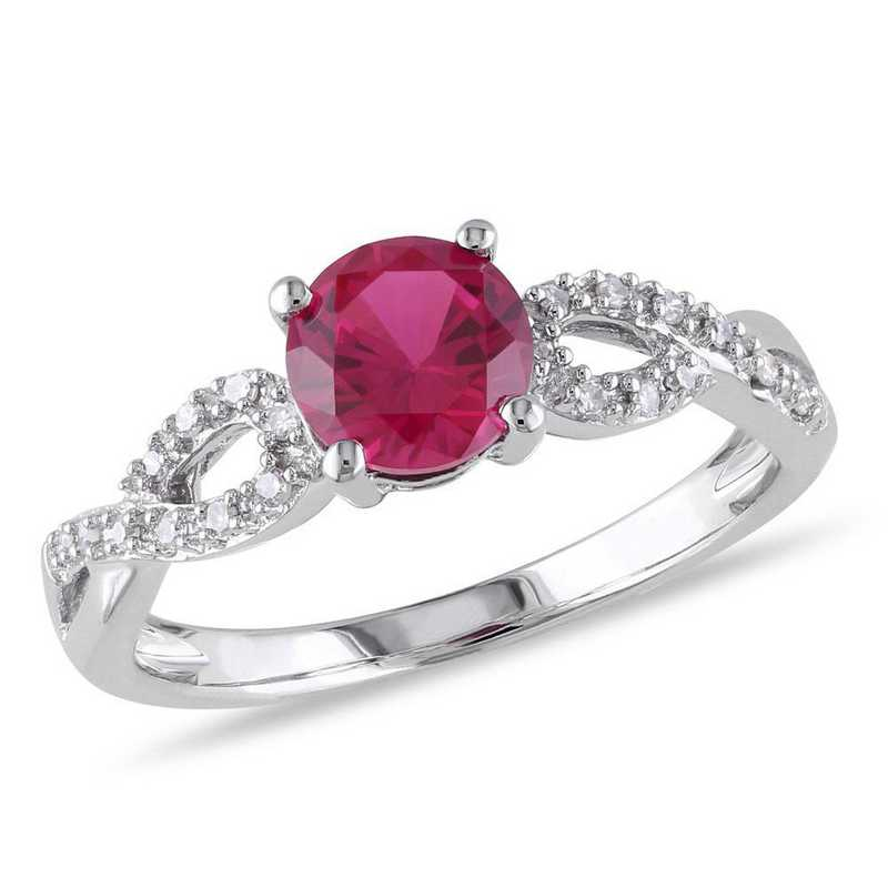 Created Ruby and 1/10 CT TW Diamond Infinity Ring in 10k White Gold