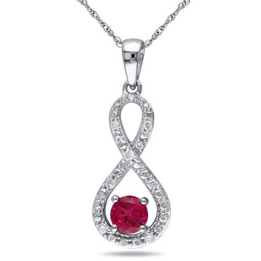 BAL001085: Created Ruby/1/10CT TW Diamnd Infinity Necklac n 10kWht Gold