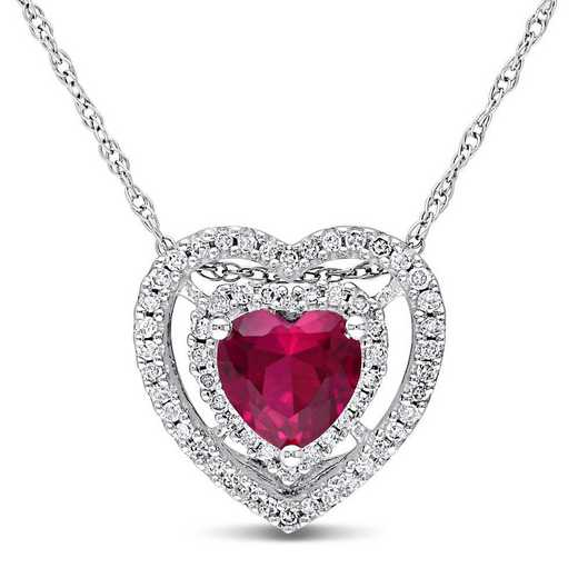 BAL001087: Created Ruby/1/5 CT TW Diamond Heart Necklace n 10k Wht Gold