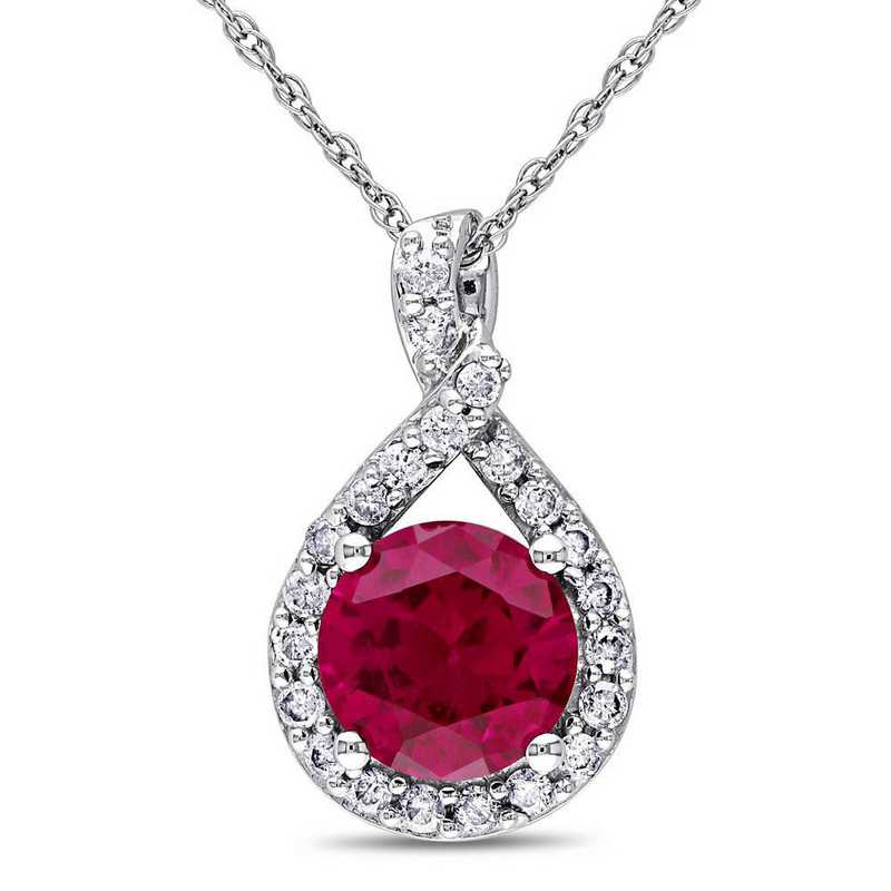 BAL001088: Created Ruby/1/5 CT TW Diamnd Teardrop Necklace/10k Wht Gold