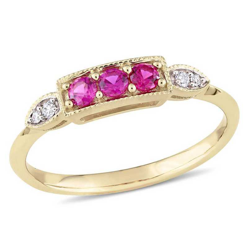 Created Ruby and Diamond Accent 3-Stone Ring in 10k Yellow Gold