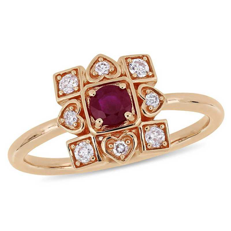 Created Ruby and 1/5 CT TW Diamond Artisanal Ring in 10k Rose Gold