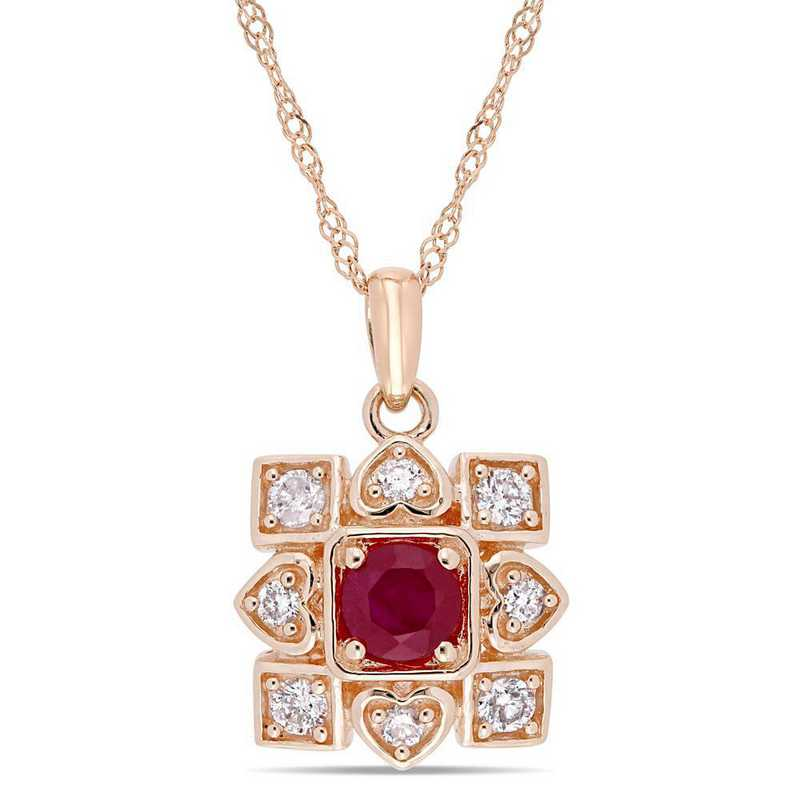 BAL001091: Ruby/1/5 CT TW Diamond Artisanal Necklace in 10k Rose Gold