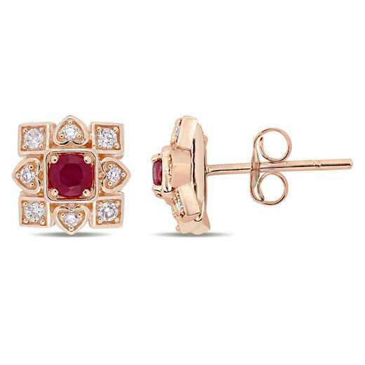 BAL001092: Ruby/1/5 CT TW Diamond Artisanal Stud Earrings/10k Rose Gold