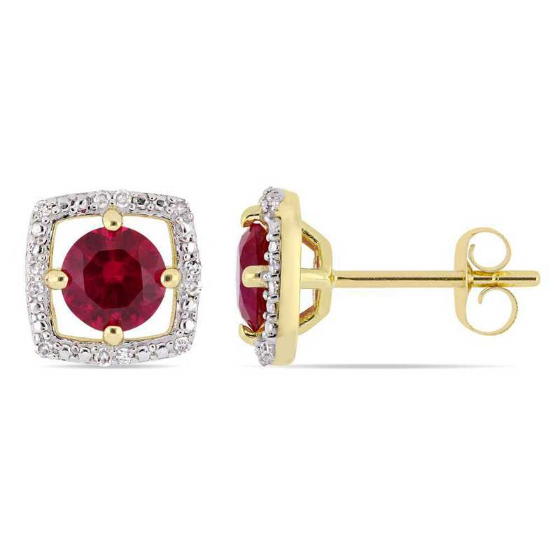 BAL001093: Created Ruby/Diamond Accent Square Stud Earring/10k YelowGld