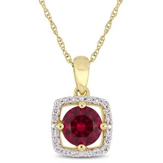 BAL001094: Create Ruby/Diamnd Halo Square Pendant/Chain in 10kYelow/Gld