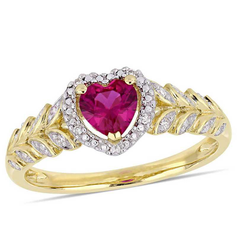 Created Ruby and Diamond Accent Halo Heart Ring in 10k Yellow Gold