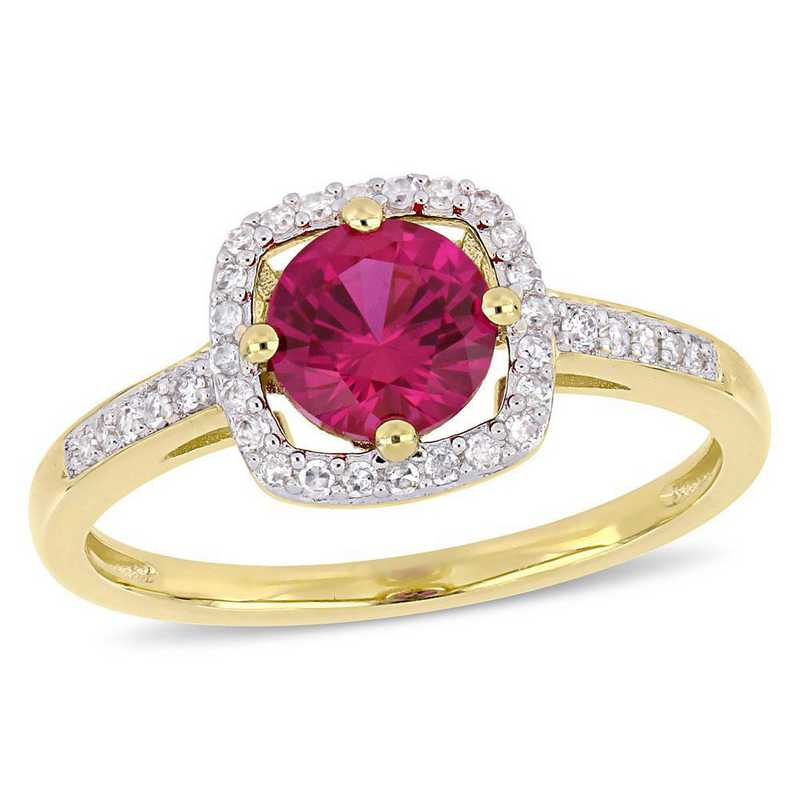 Created Ruby and 1/7 CT TW Diamond Square Halo Ring in 10k Yellow Gold