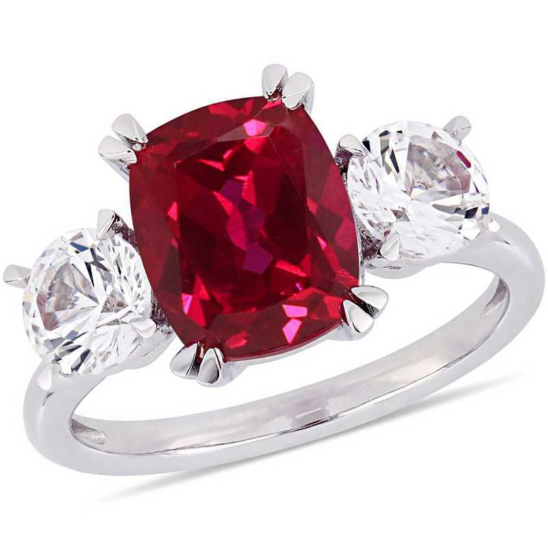 Created Ruby and Created White Sapphire Three Stone Ring in 10k White Gold