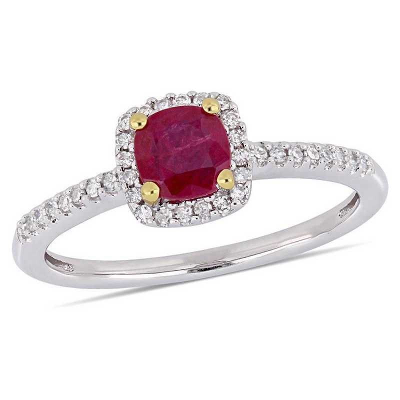 Created Ruby and 1/7 CT TW Diamond Halo Ring in 10k White Gold