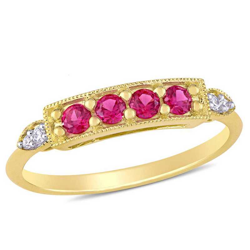 Created Ruby and Diamond Accent Bar Ring in 10k Yellow Gold