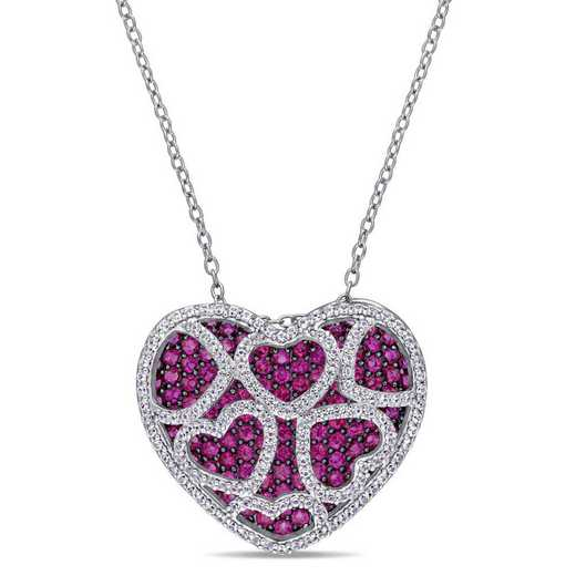 BAL001100: Create Ruby/Created Wht Saphire Heart Cluster Necklace in SS