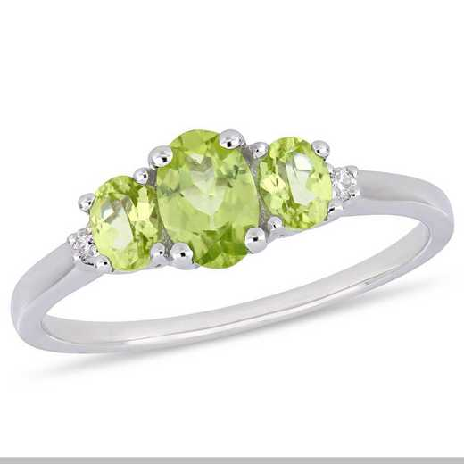 Peridot and Diamond Accent 3 Stone Ring in 10k White Gold